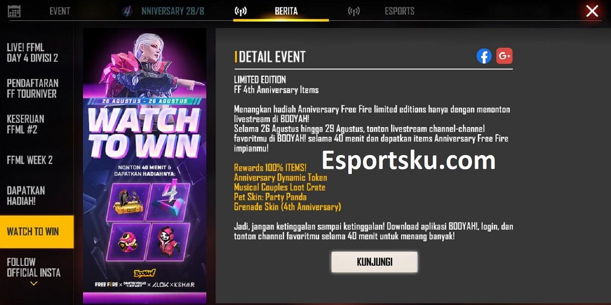 Cara Mengikuti Event Watch To Win Free Fire (FF)